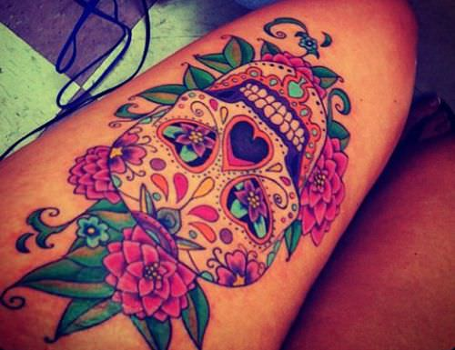 sugar skull tattoo for women