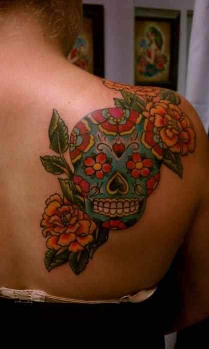 Sugar Skull Tattoo on back