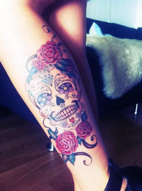 Sugar Skull Tattoo for girls