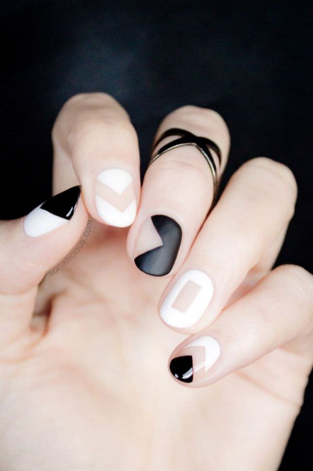 rock negative space black and white nail art designs