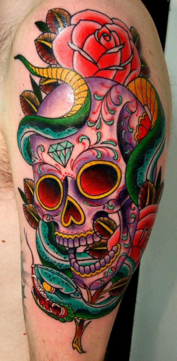 Sugar Skull Rose and Serpent