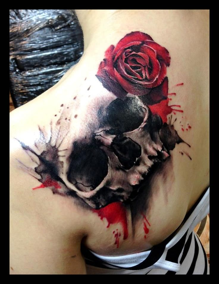 Skull and Rose Tattoos
