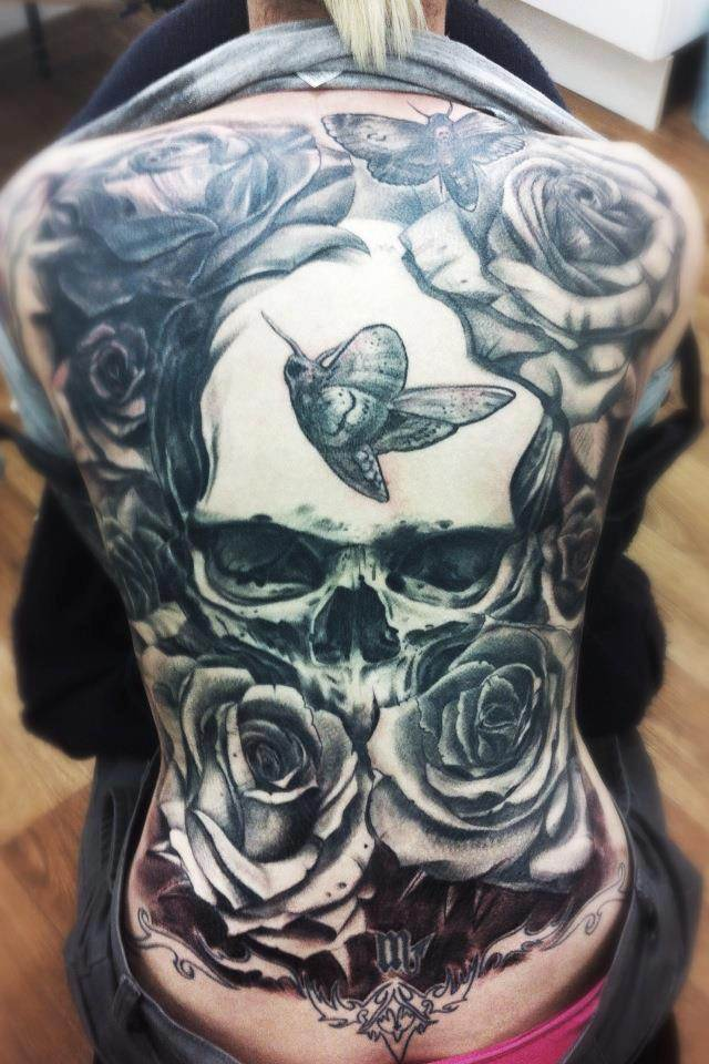 Skull and Rose Tattoo on Back
