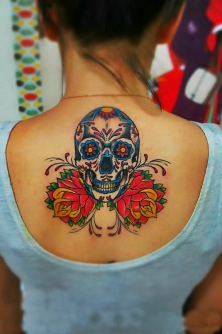skull and flower for women