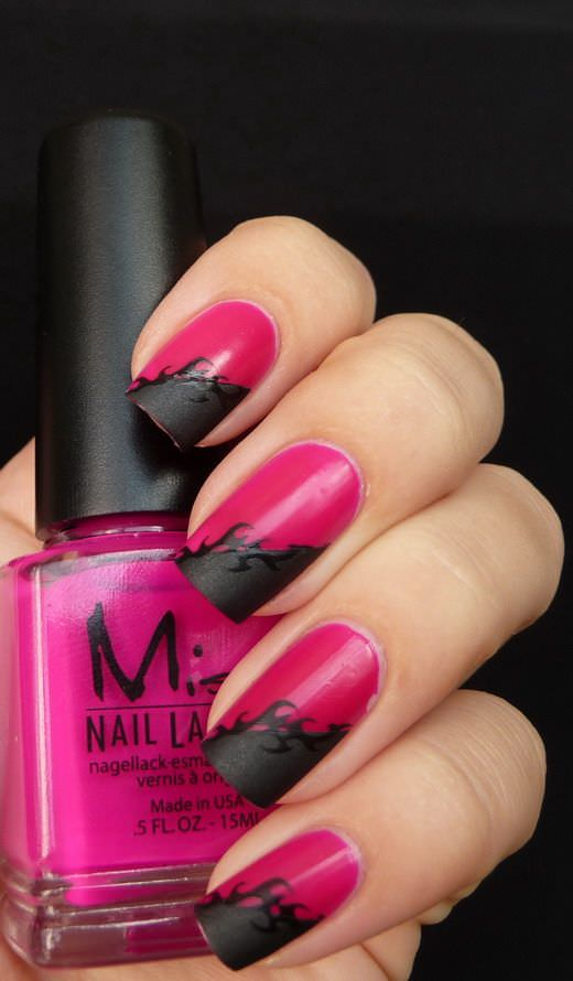 Matt Pink in Black nails