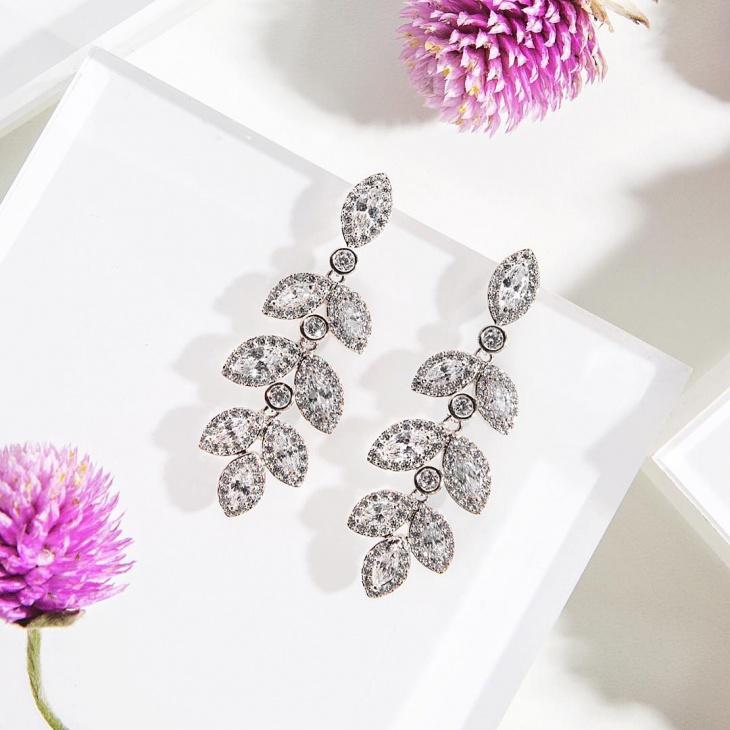 Leaf Shape Wedding Earrings