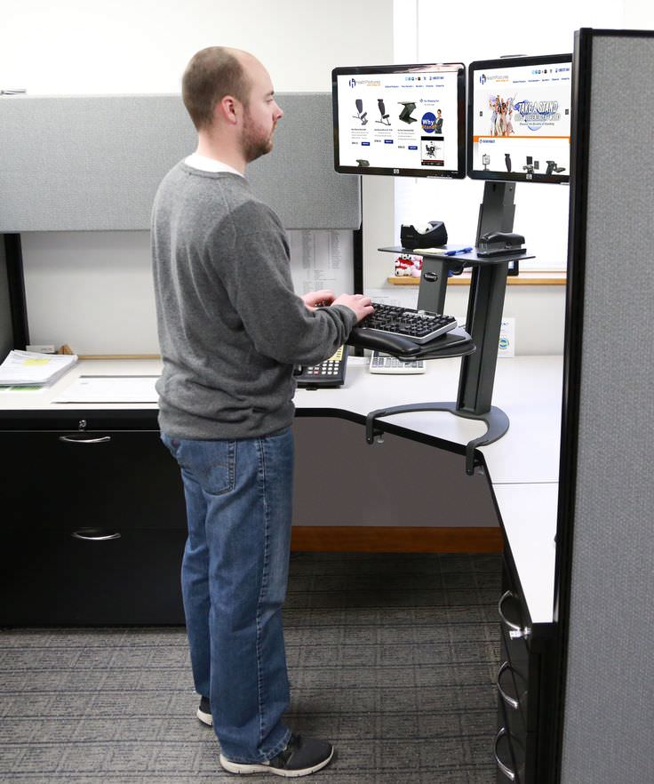Dual Monitor Sit Stand Work Space Design