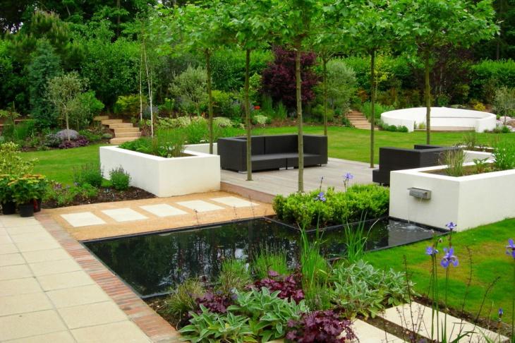 contemporary garden landscape with wicker furniture