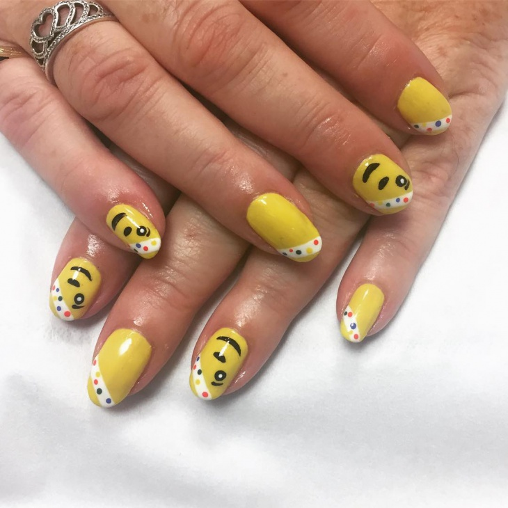 Yellow Gel Nail Art Design