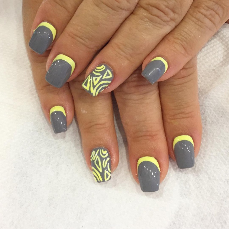 Yellow and Grey Nail Design