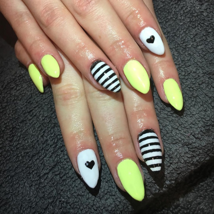 Simple Yellow Nail Art Idea