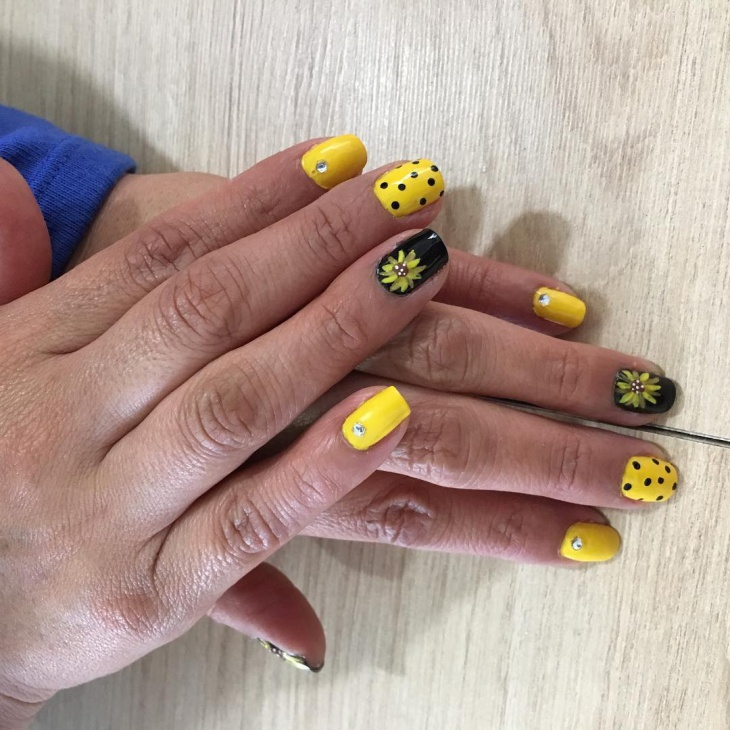 Polka Dot Yellow Nail Design