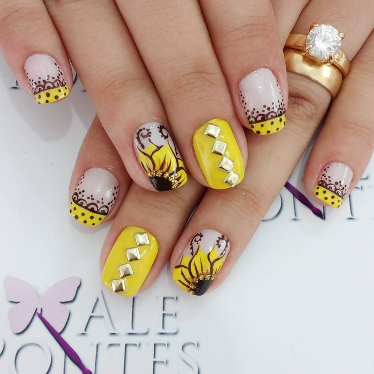 Yellow Flower Nail Art Design