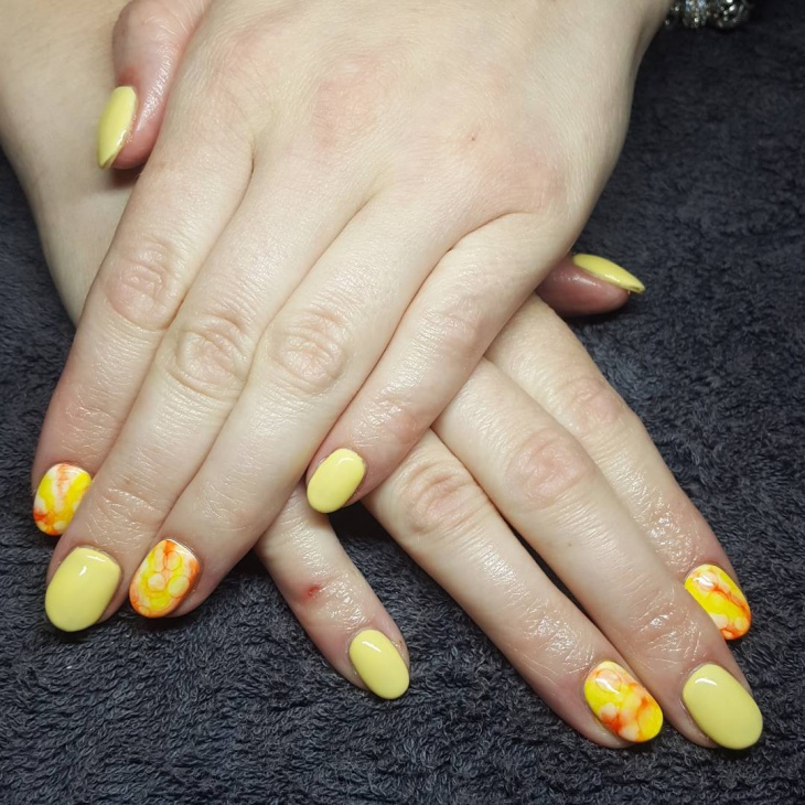 Yellow Marble Nail Art Design