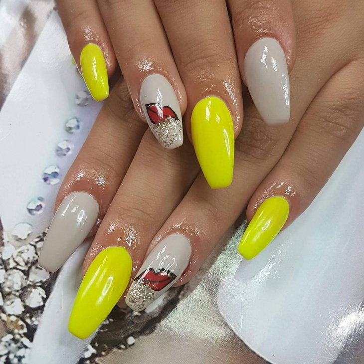 Unique Yellow Nail Design
