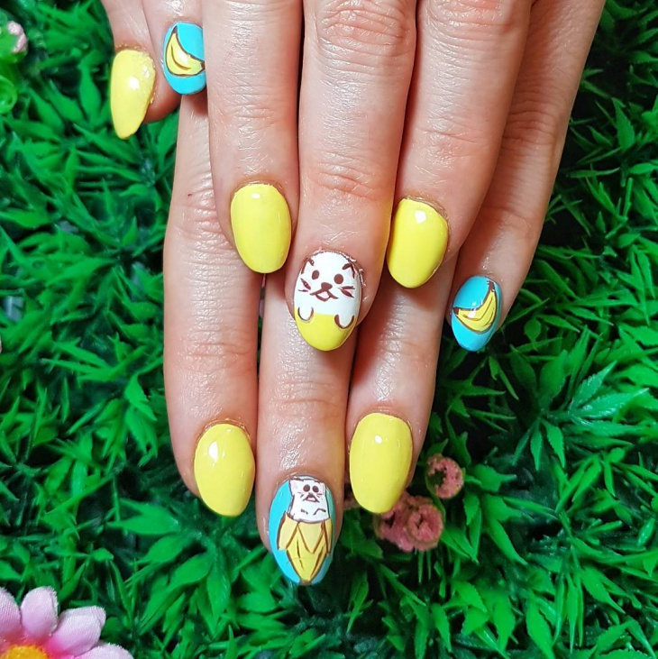 Yellow Banana Nail Art Idea