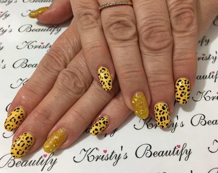 Leopard Print Yellow Nails