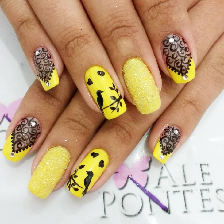 Yellow Nail Design for Long Nails