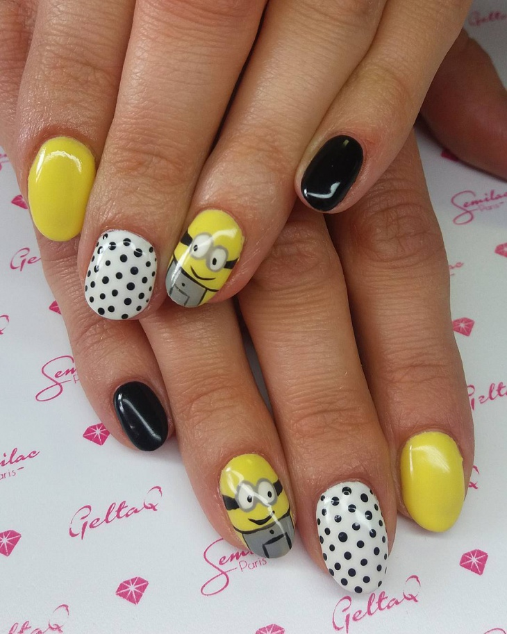 Yellow Minion Nail Design Idea