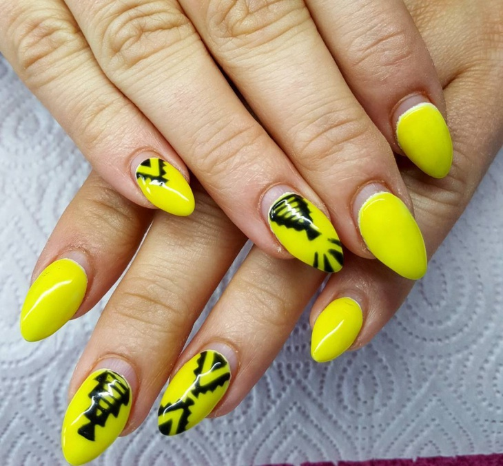 Easy Yellow Nail Art Design