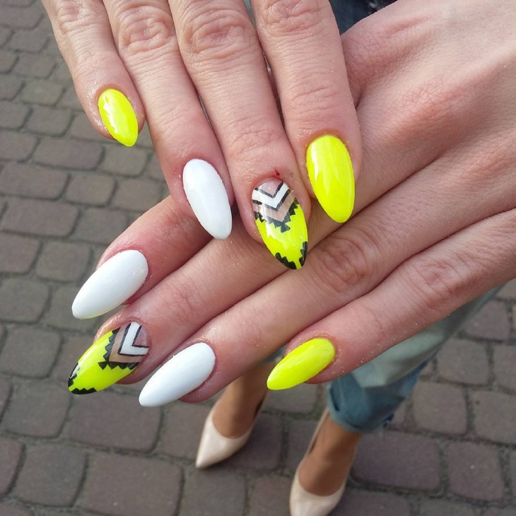 Yellow and White Nail Design