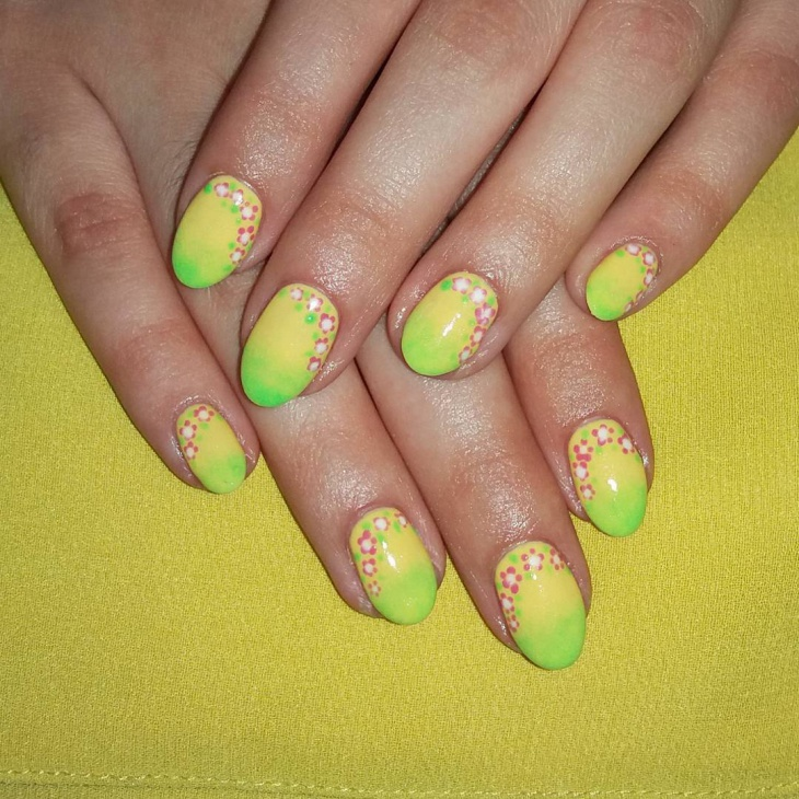Pretty Yellow Nail Art Idea