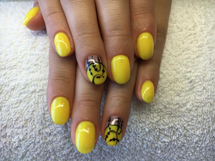 Acrylic Yellow Nails Idea