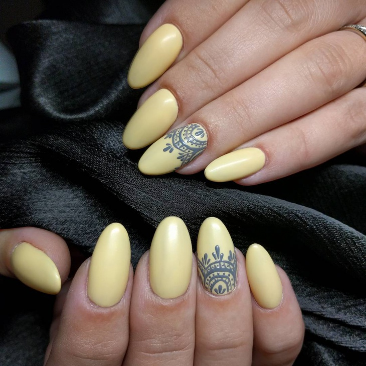 Hand Painted Nail Art Designs: 21+ Yellow Nail Art Designs, Ideas