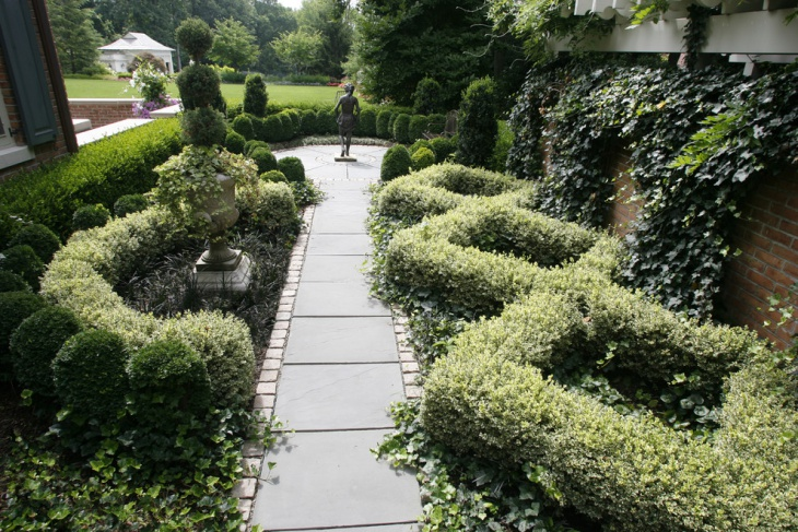stone formal garden pathway