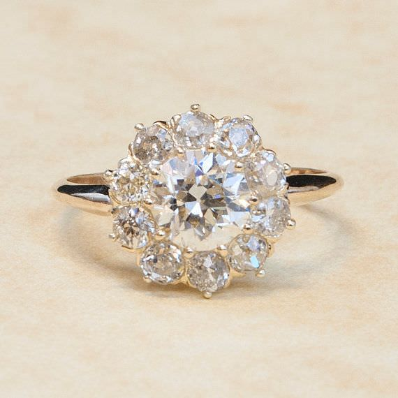 Clustered Flower Diamond Ring