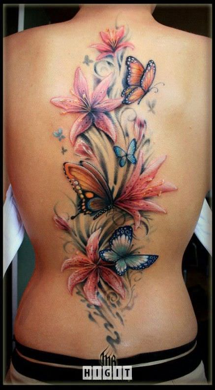 ButterFly Flower Tattoo Designs on Back
