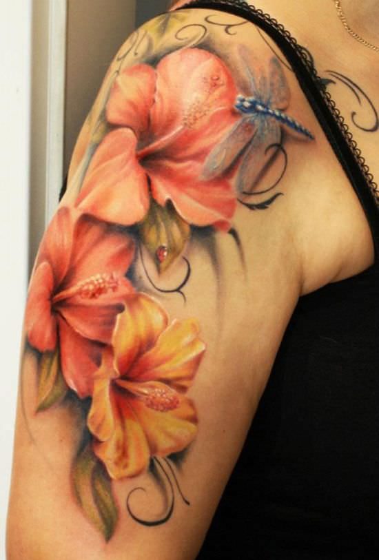 Flower Tattoo Designs on Shoulders