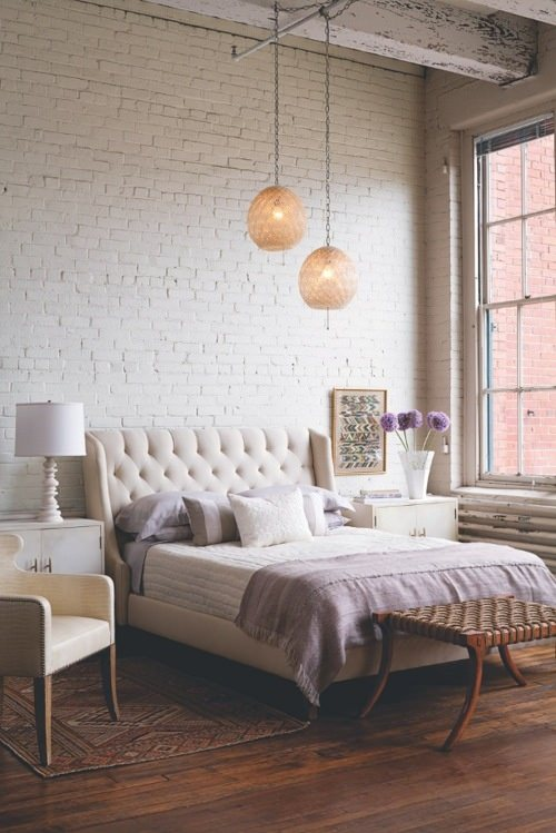 white brick bedroom design