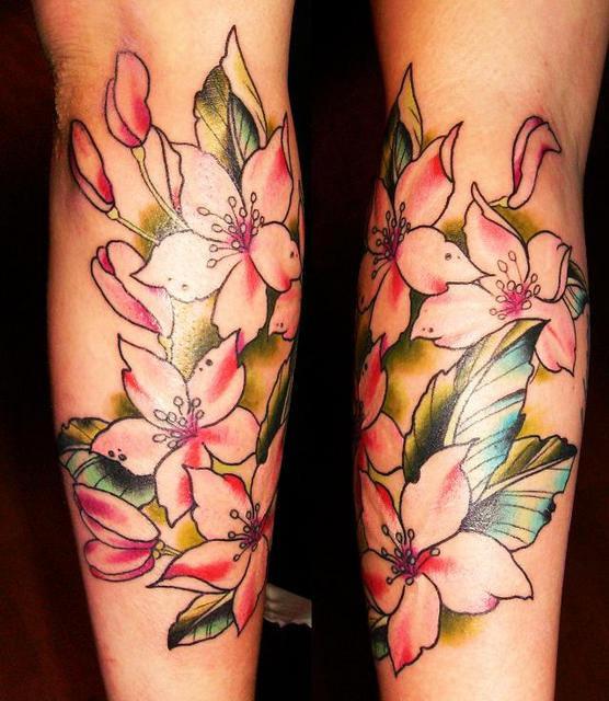 flower tattoo on legs