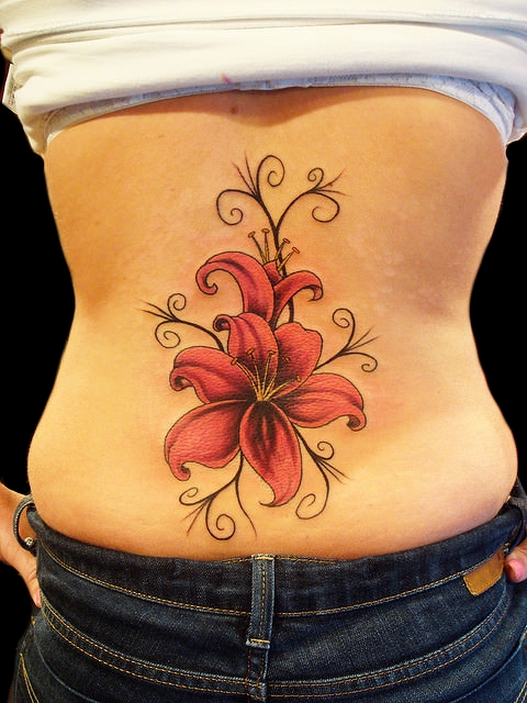 Flower Tattoo Design On Back Side