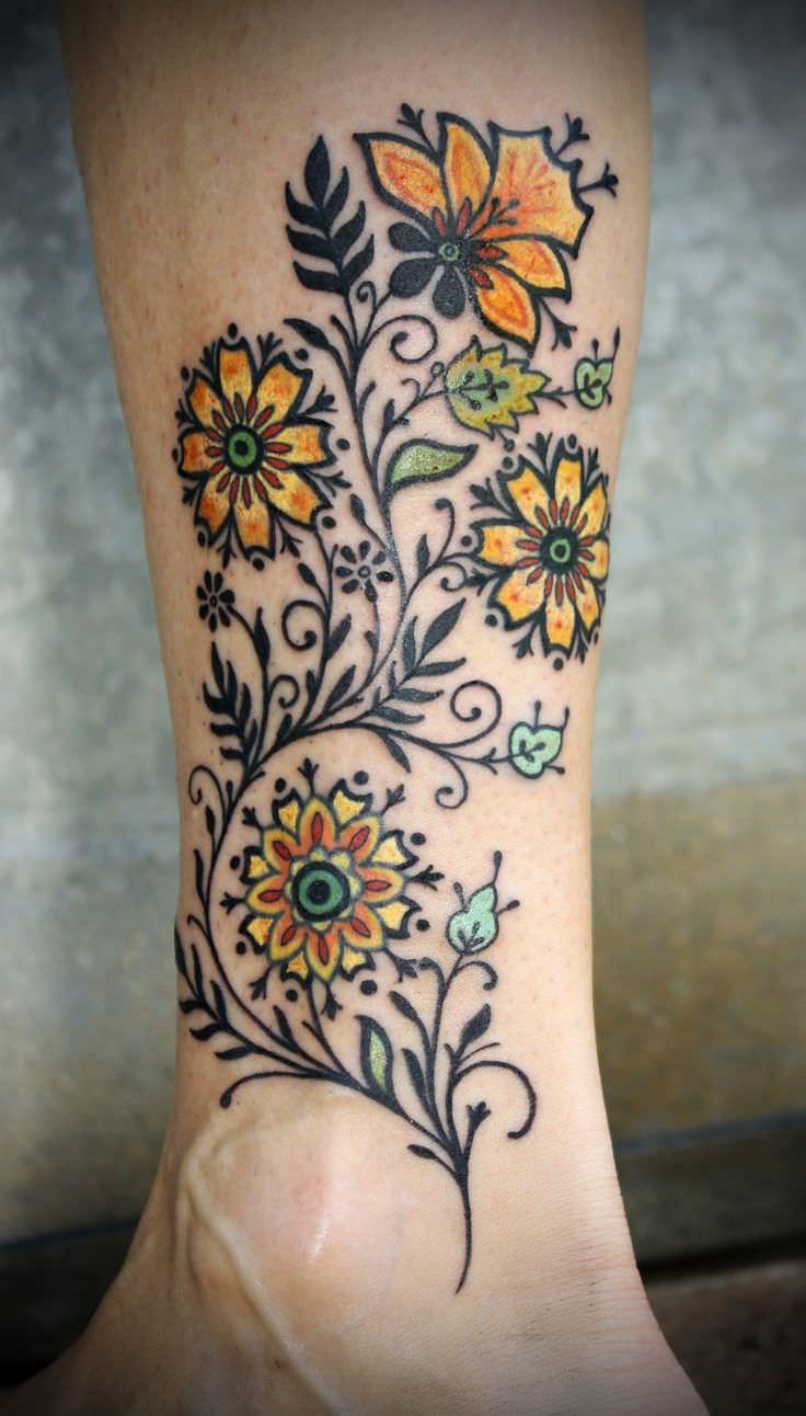 pretty flowers tattoo design