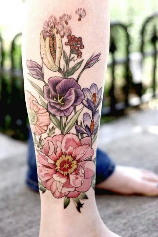 Flowers Tattoo Design On Right Leg