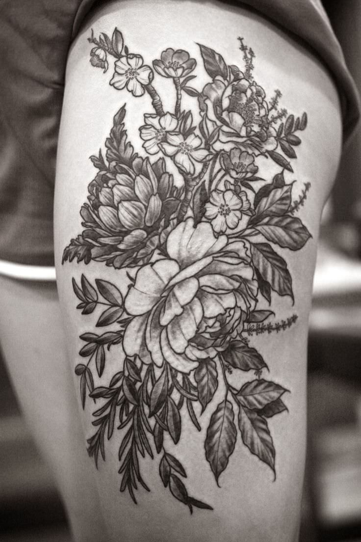 Wonderland Flower Tattoo Design