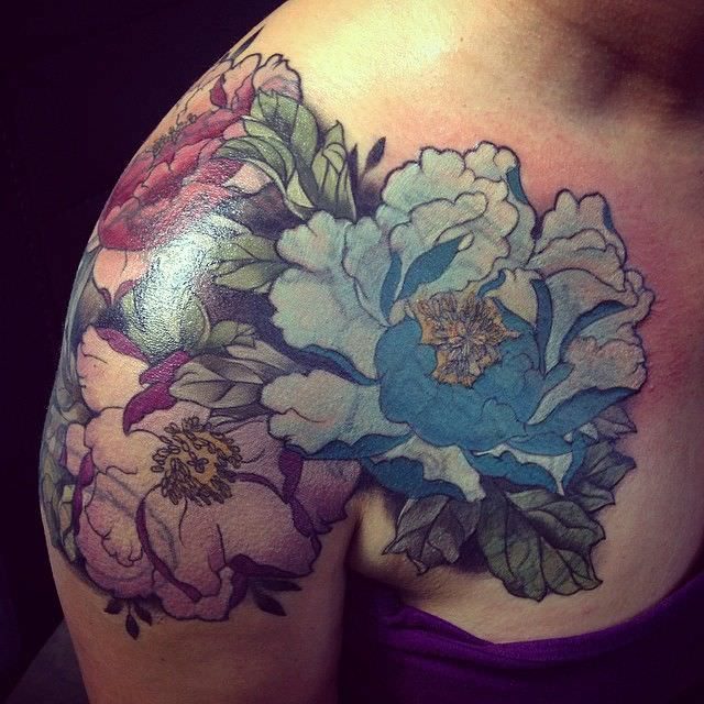Blue Flower Tattoo Design