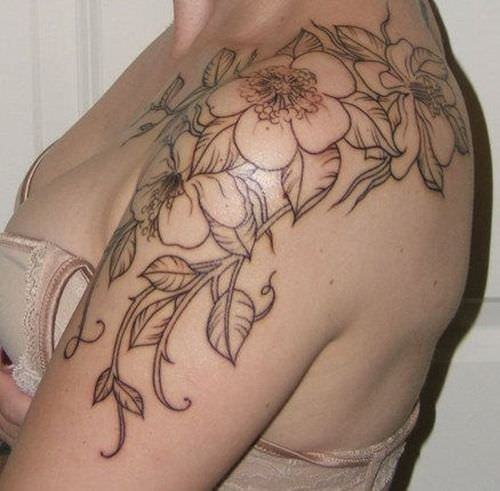 Shoulder Flower Tattoos Design For Women