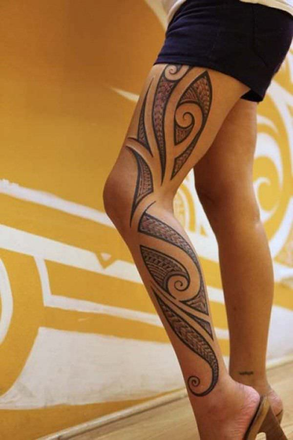 Leg Tribal Tattoo Design