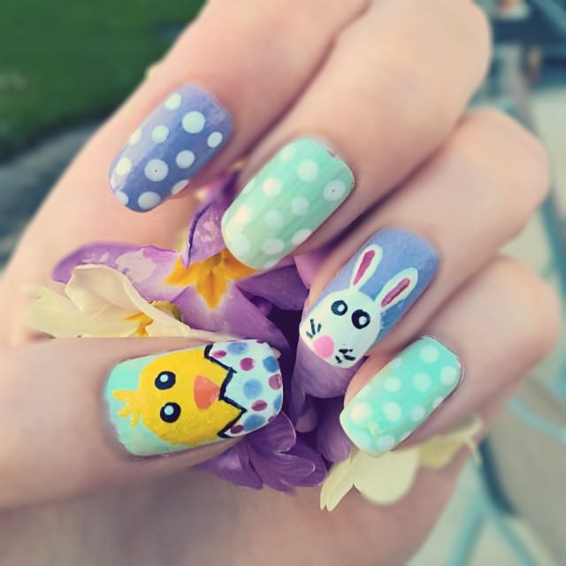 Bunny and Polka Dot Nailart