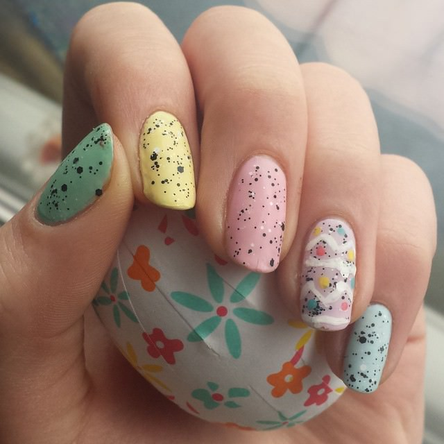 easter egg themed nailart
