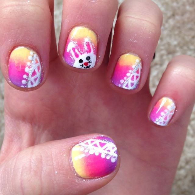 multicolor easter nail designs