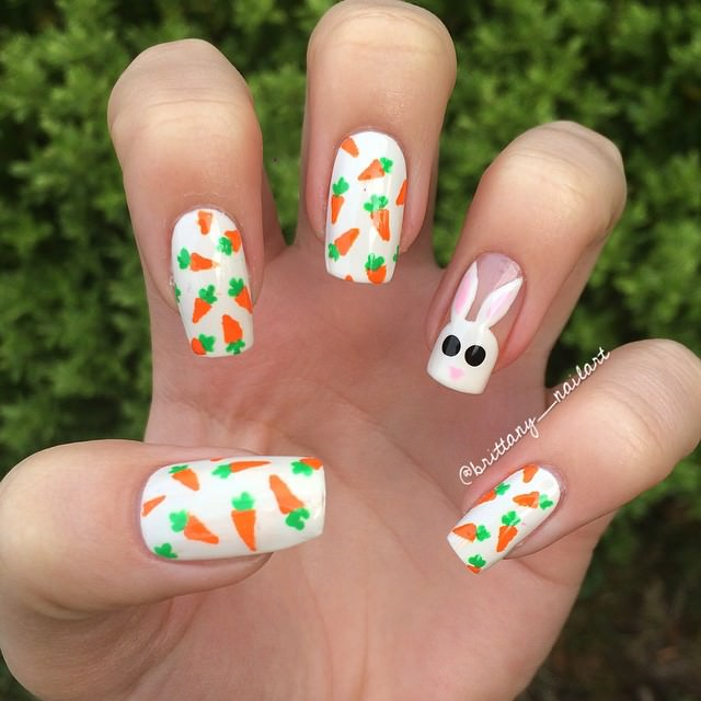 Bunny and Carrots Nail art
