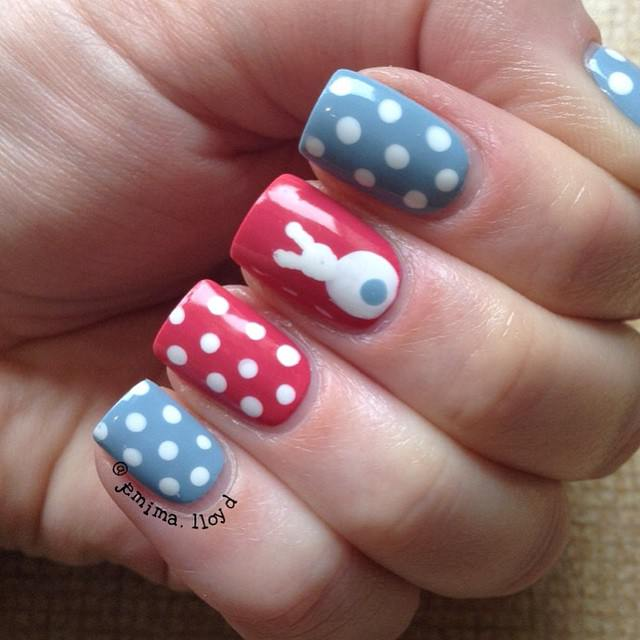 red and blue nail art