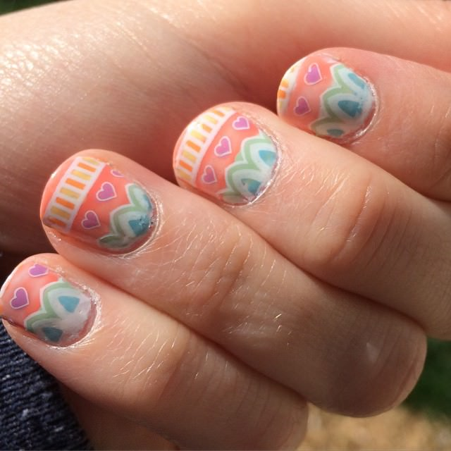 easter egg themed nail design