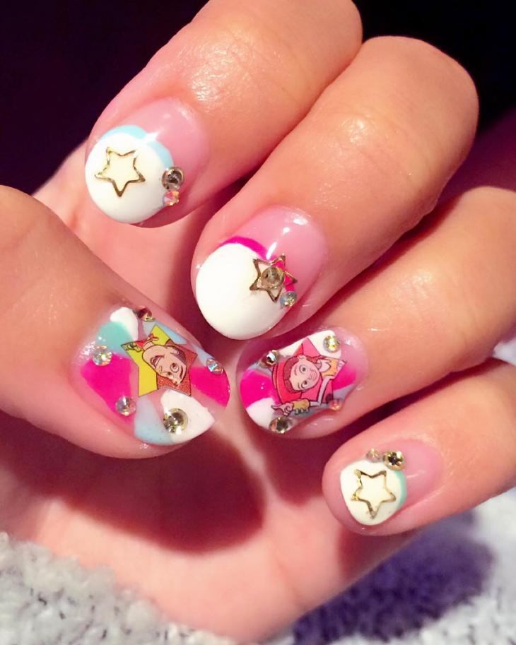 Pink Disney Nail Design