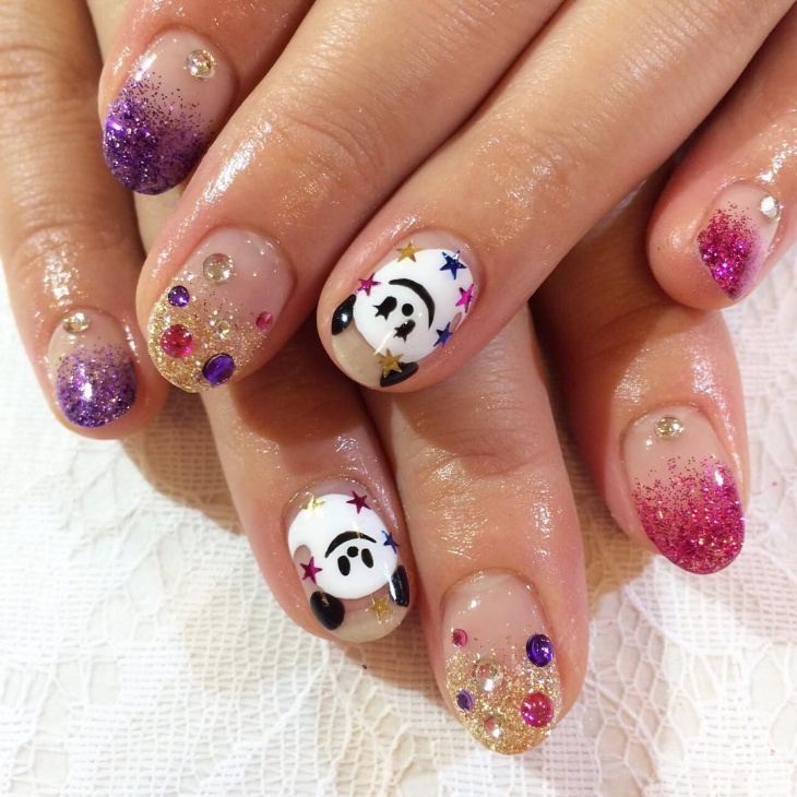 shine disney nail design1