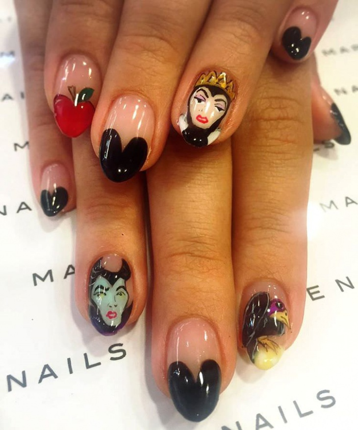 Love Shape Disney Nail Design